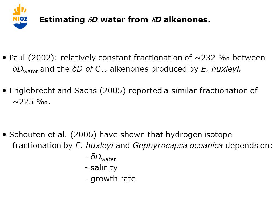  alkenones-water versus salinity