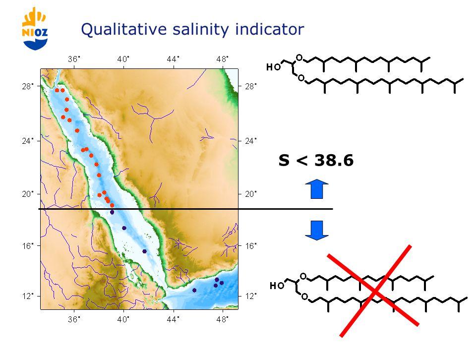 Qualitative salinity indicator S < 38.6