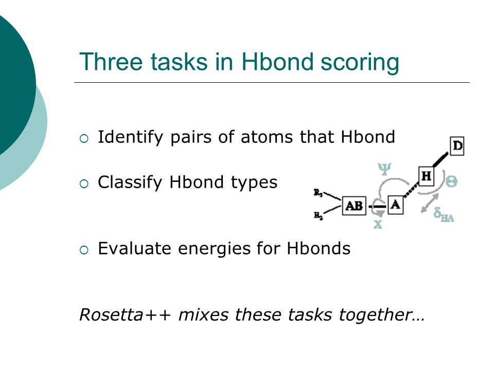 Three tasks in Hbond scoring  Identify pairs of atoms that Hbond  Classify Hbond types  Evaluate energies for Hbonds Rosetta++ mixes these tasks together…