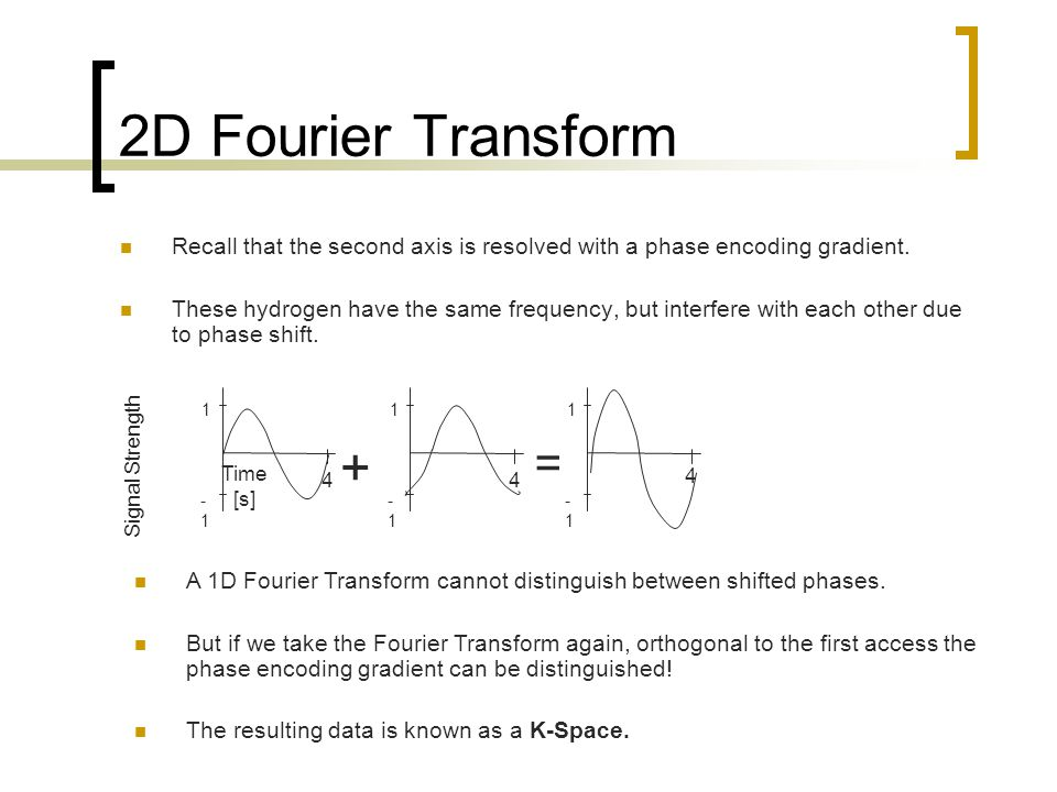 2D Fourier Transform Recall that the second axis is resolved with a phase encoding gradient.