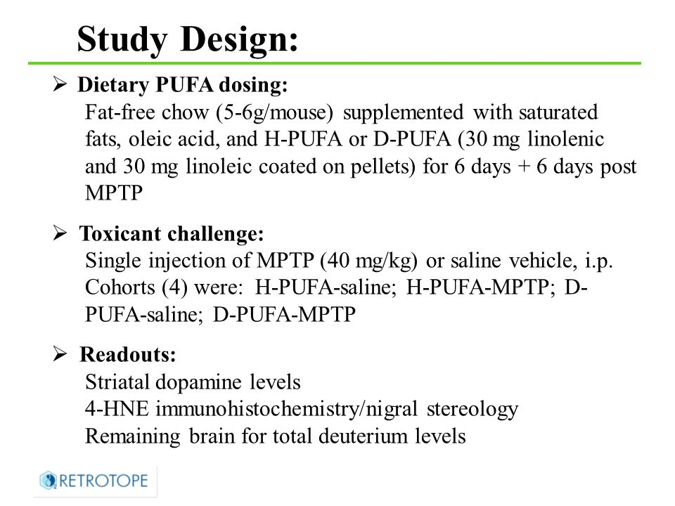  Dietary PUFA dosing: Fat-free chow (5-6g/mouse) supplemented with saturated fats, oleic acid, and H-PUFA or D-PUFA (30 mg linolenic and 30 mg linoleic coated on pellets) for 6 days + 6 days post MPTP  Toxicant challenge: Single injection of MPTP (40 mg/kg) or saline vehicle, i.p.