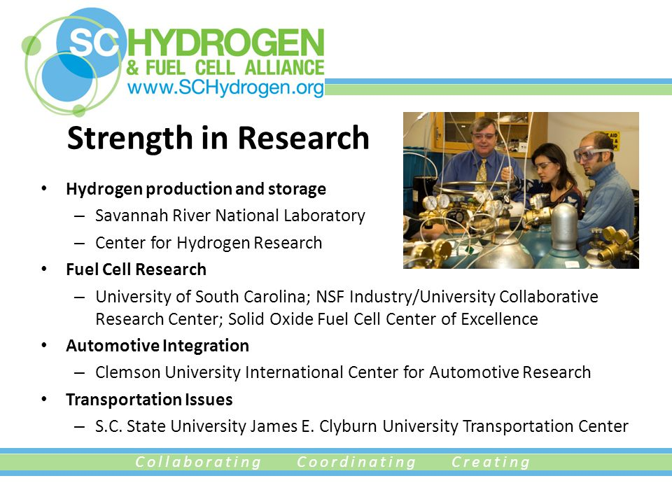 Collaborating Coordinating Creating Strength in Research Hydrogen production and storage – Savannah River National Laboratory – Center for Hydrogen Research Fuel Cell Research – University of South Carolina; NSF Industry/University Collaborative Research Center; Solid Oxide Fuel Cell Center of Excellence Automotive Integration – Clemson University International Center for Automotive Research Transportation Issues – S.C.