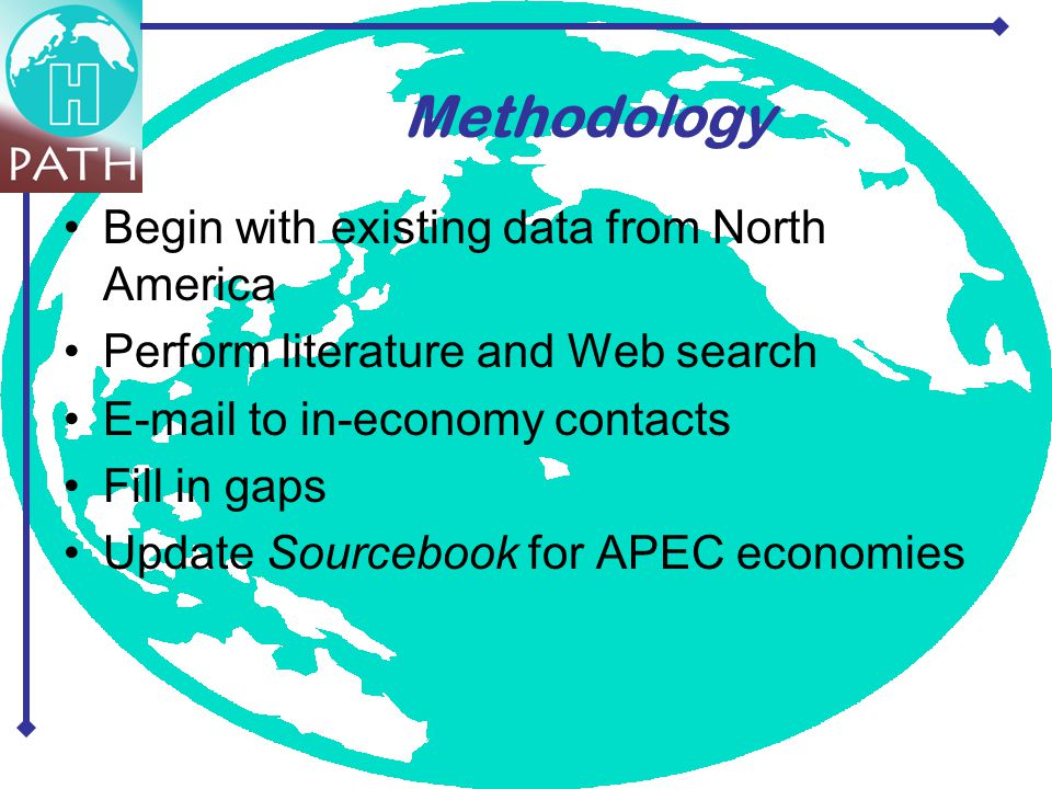 Begin with existing data from North America Perform literature and Web search E-mail to in-economy contacts Fill in gaps Update Sourcebook for APEC economies Methodology