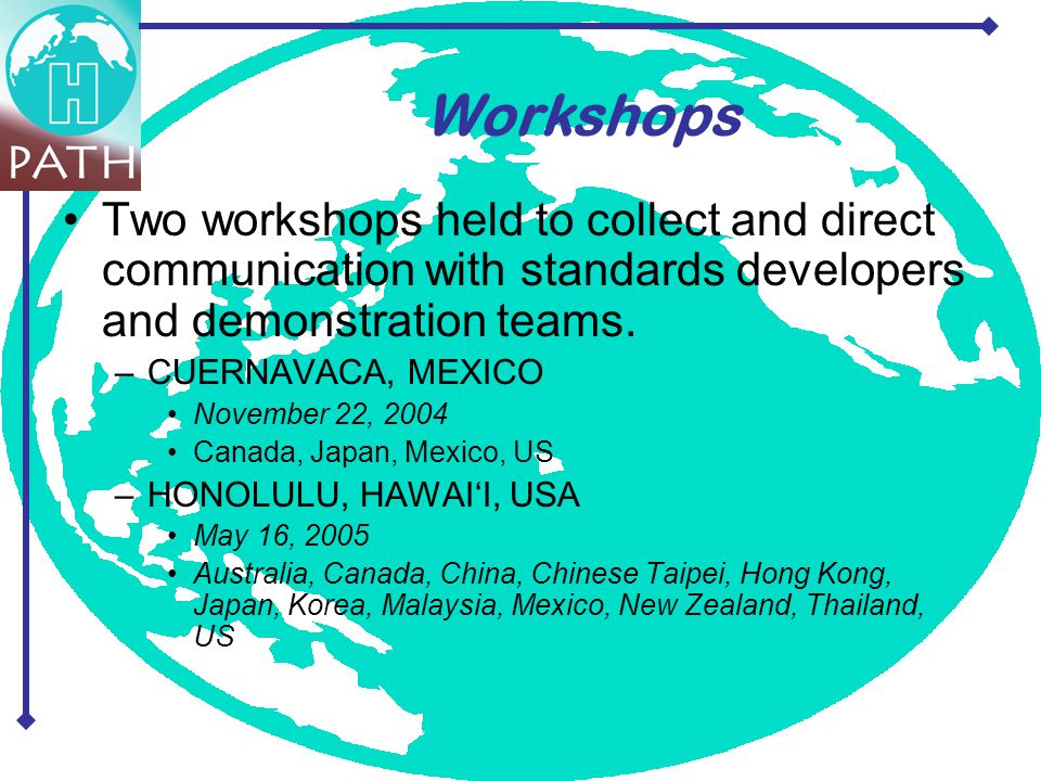 Two workshops held to collect and direct communication with standards developers and demonstration teams. –CUERNAVACA, MEXICO November 22, 2004 Canada