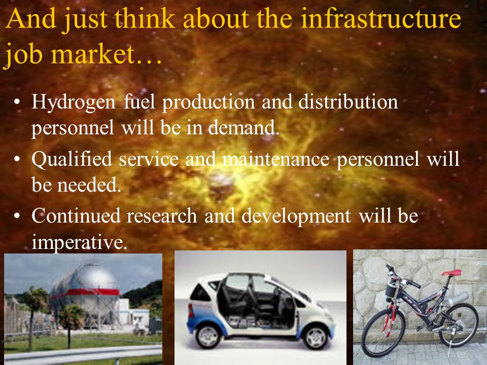 And just think about the infrastructure job market… Hydrogen fuel production and distribution personnel will be in demand. Qualified service and maint