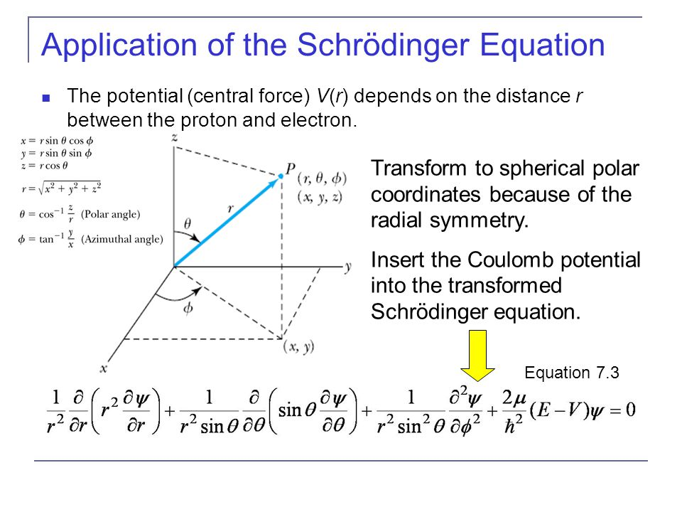Application of the Schrödinger Equation The potential (central force) V(r) depends on the distance r between the proton and electron. Transform to sph