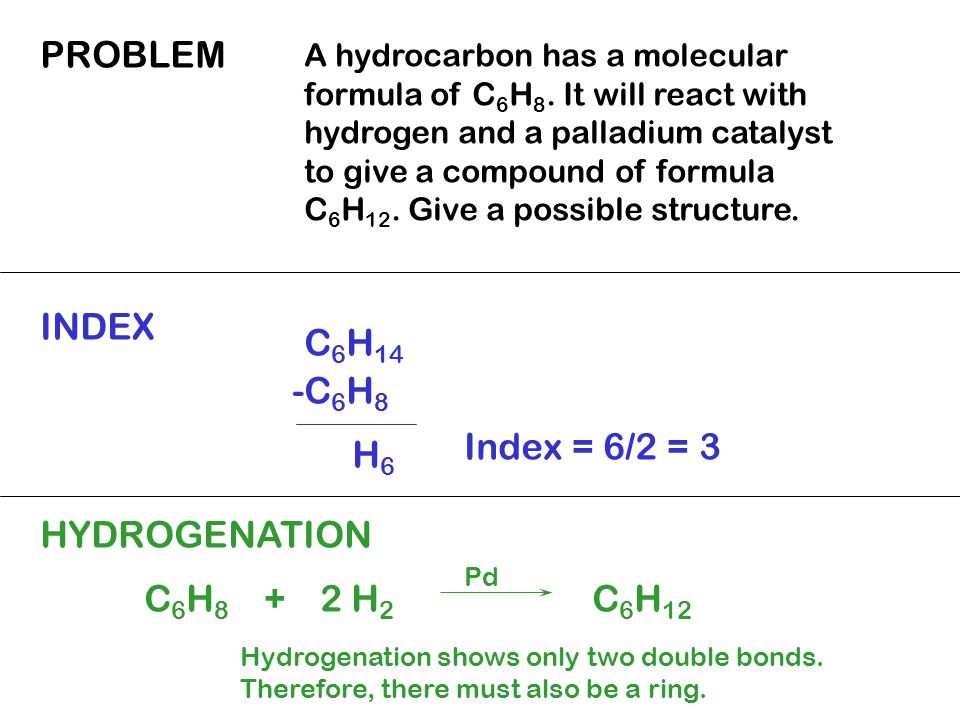 PROBLEM A hydrocarbon has a molecular formula of C 6 H 8.