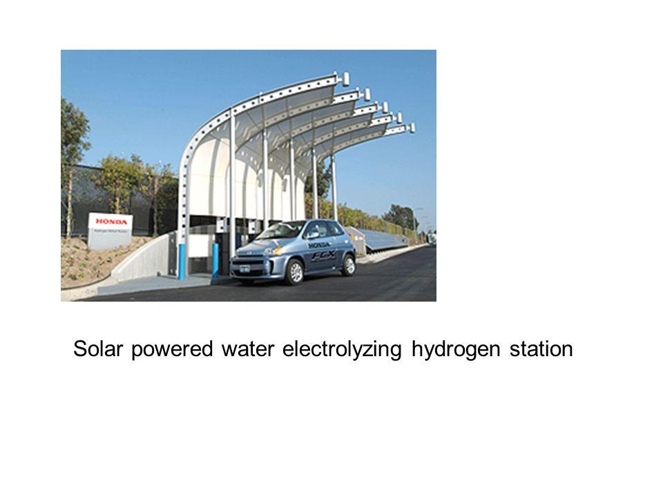 Solar powered water electrolyzing hydrogen station