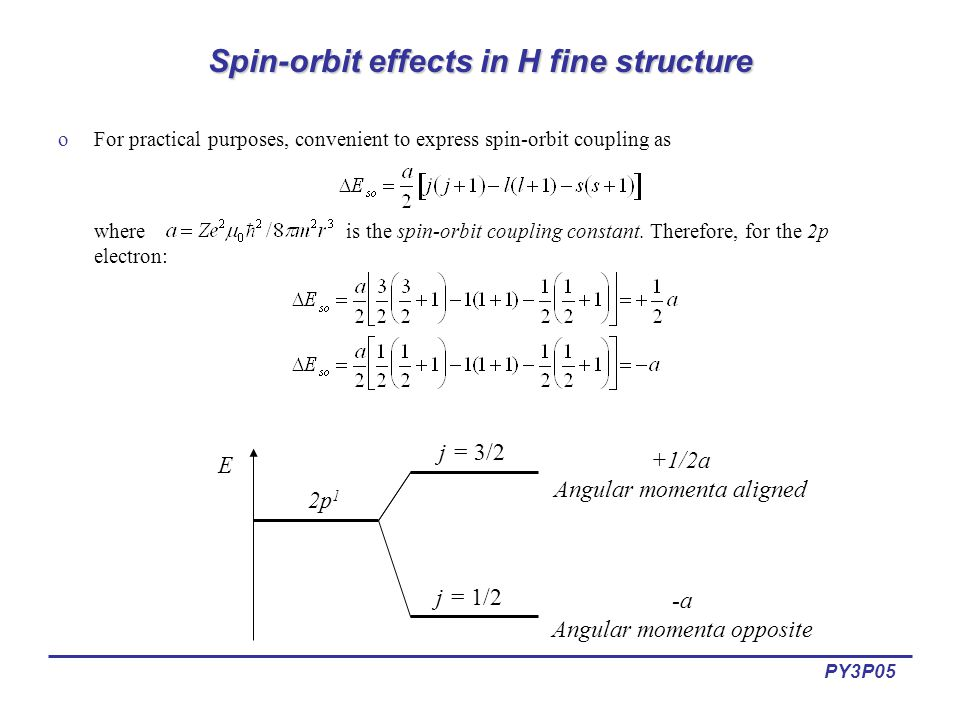 PY3P05 Hyperfine structure: Nuclear moments oHyperfine structure results from magnetic interaction between the electron's total angular momentum (J) and the nuclear spin (I).