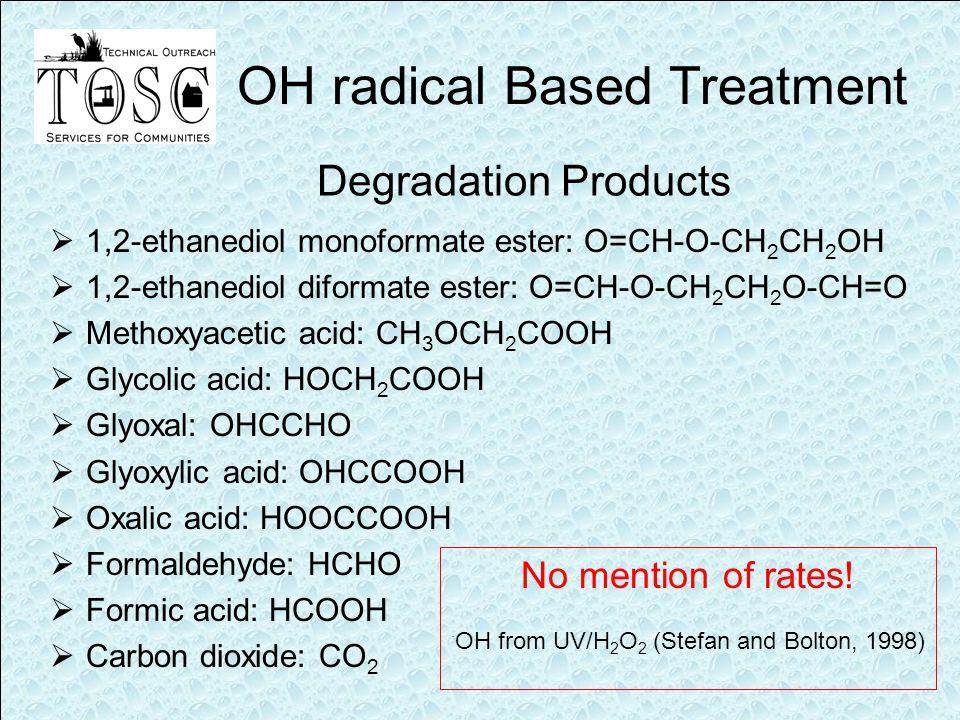 Degradation Products  1,2-ethanediol monoformate ester: O=CH-O-CH 2 CH 2 OH  1,2-ethanediol diformate ester: O=CH-O-CH 2 CH 2 O-CH=O  Methoxyacetic acid: CH 3 OCH 2 COOH  Glycolic acid: HOCH 2 COOH  Glyoxal: OHCCHO  Glyoxylic acid: OHCCOOH  Oxalic acid: HOOCCOOH  Formaldehyde: HCHO  Formic acid: HCOOH  Carbon dioxide: CO 2 OH radical Based Treatment No mention of rates.