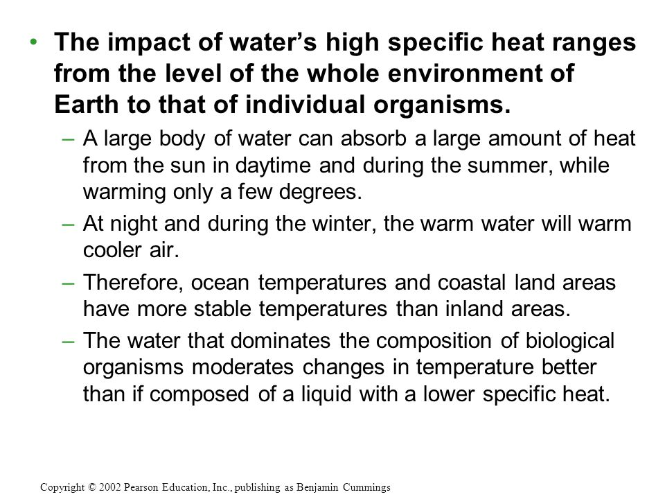 The impact of water's high specific heat ranges from the level of the whole environment of Earth to that of individual organisms. –A large body of wat