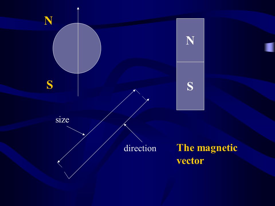 N S N S direction size The magnetic vector