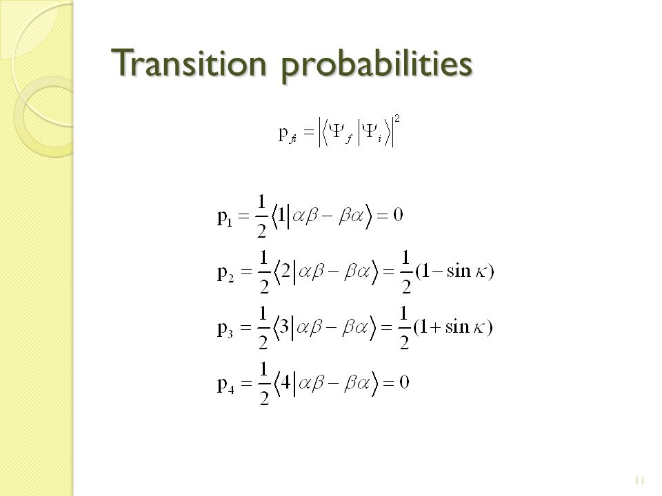 11 Transition probabilities