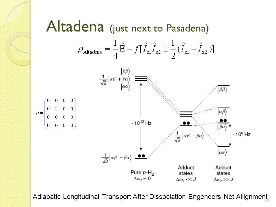 19 Altadena (just next to Pasadena) Adiabatic Longitudinal Transport After Dissociation Engenders Net Allignment