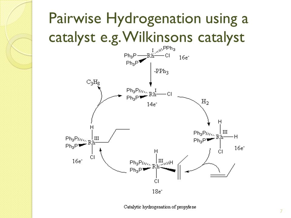 7 Pairwise Hydrogenation using a catalyst e.g. Wilkinsons catalyst