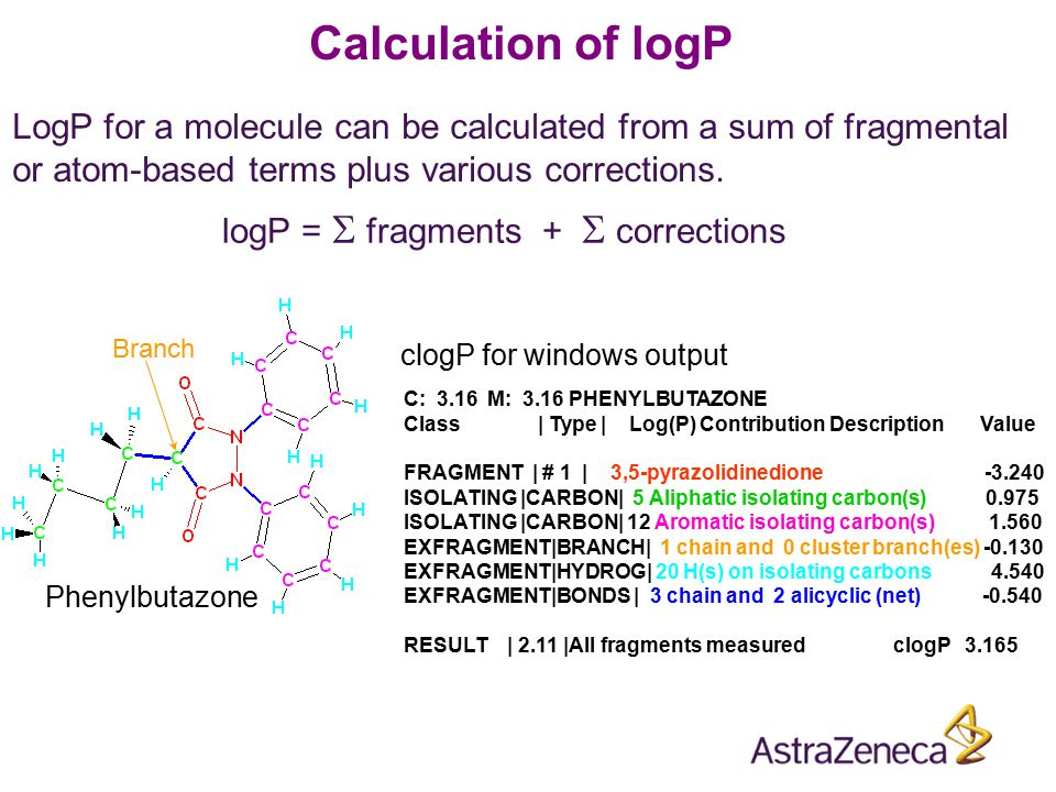 LogP for a molecule can be calculated from a sum of fragmental or atom-based terms plus various corrections. logP =  fragments +  corrections C: 3.1