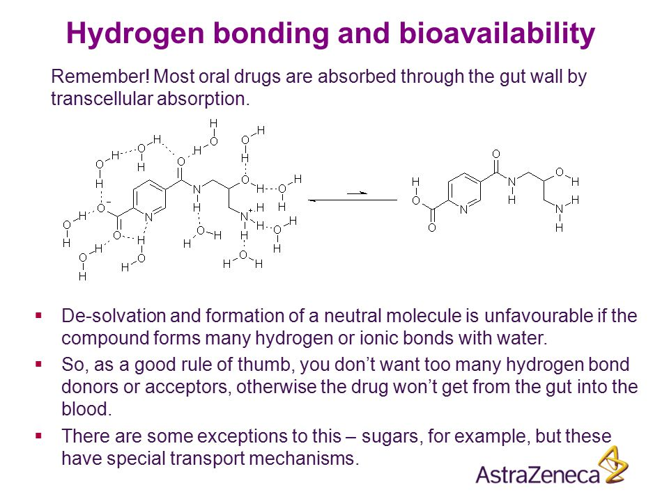 Hydrogen bonding and bioavailability Remember! Most oral drugs are absorbed through the gut wall by transcellular absorption.  De-solvation and forma