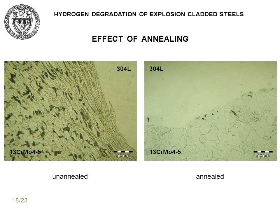 HYDROGEN DEGRADATION OF EXPLOSION CLADDED STEELS EFFECT OF ANNEALING 304L 13CrMo4-5 304L 13CrMo4-5 unannealedannealed 18/23