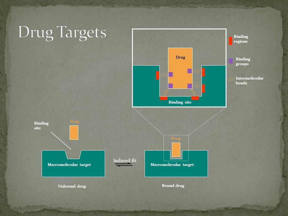 Macromolecular target Drug Bound drug Induced fit Macromolecular target Drug Unbound drug Binding site Drug Binding site Binding regions Binding groups Intermolecular bonds