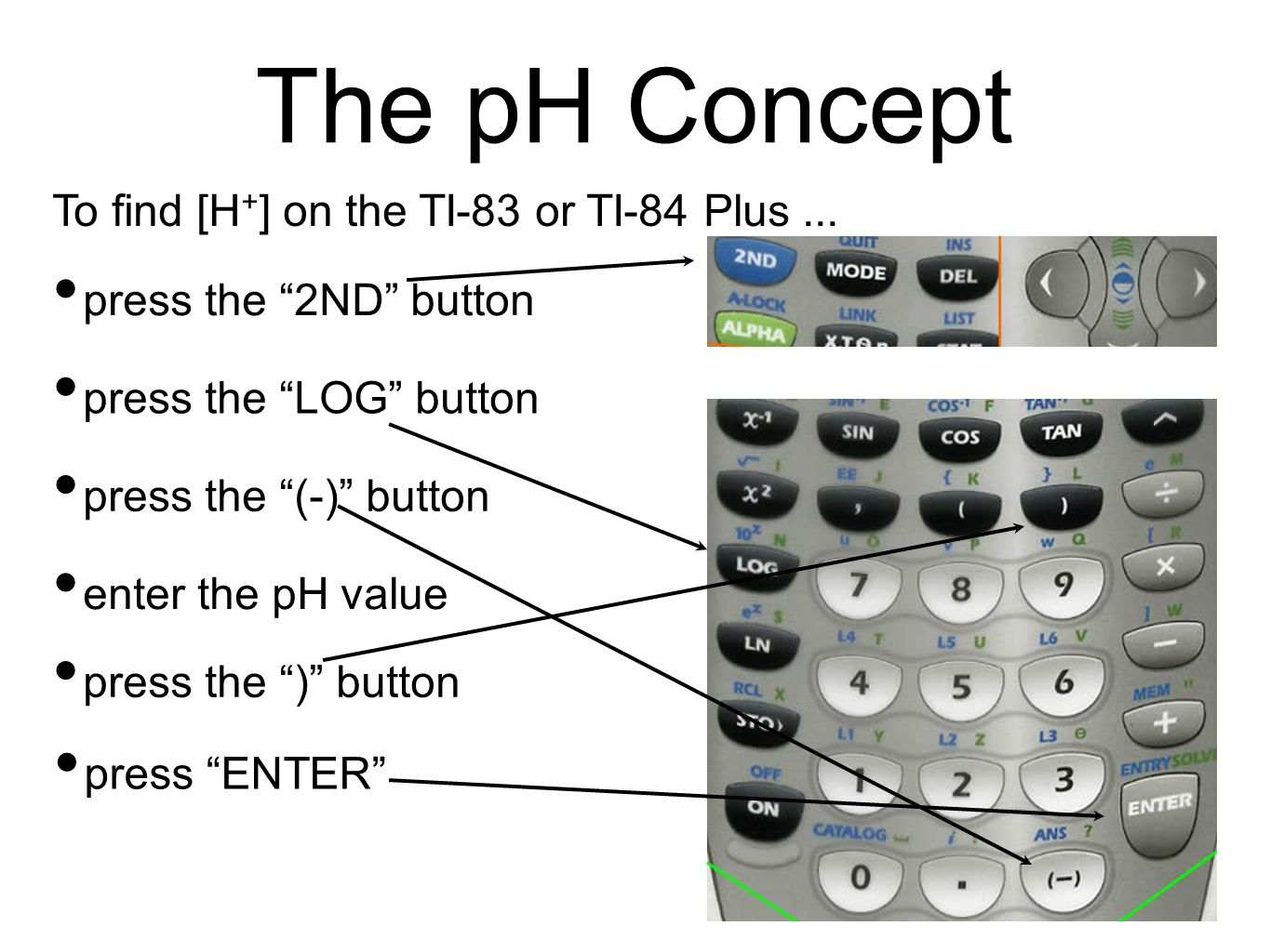The pH Concept To find [H + ] on the TI-83 or TI-84 Plus...