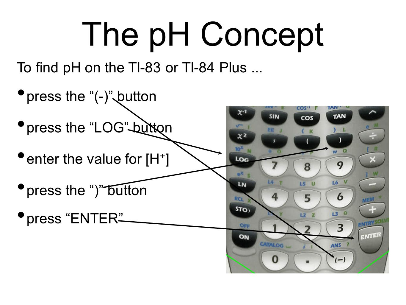 The pH Concept To find pH on the TI-83 or TI-84 Plus...