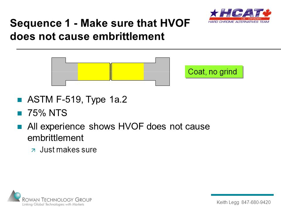 Keith Legg 847-680-9420 Coat, no grind Sequence 1 - Make sure that HVOF does not cause embrittlement ASTM F-519, Type 1a.2 75% NTS All experience shows HVOF does not cause embrittlement  Just makes sure