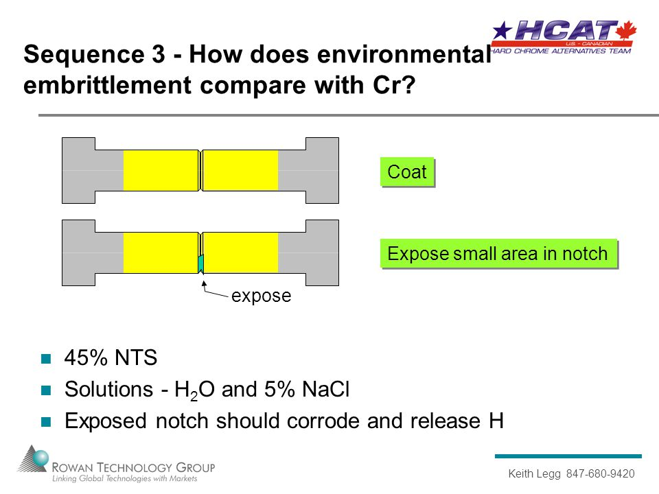 Keith Legg 847-680-9420 Sequence 3 - How does environmental embrittlement compare with Cr.