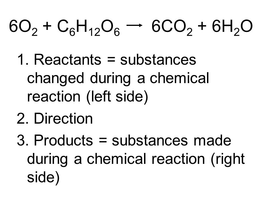 6O 2 + C 6 H 12 O 6 6CO 2 + 6H 2 O 1. Reactants = substances changed during a chemical reaction (left side) 2. Direction 3. Products = substances made