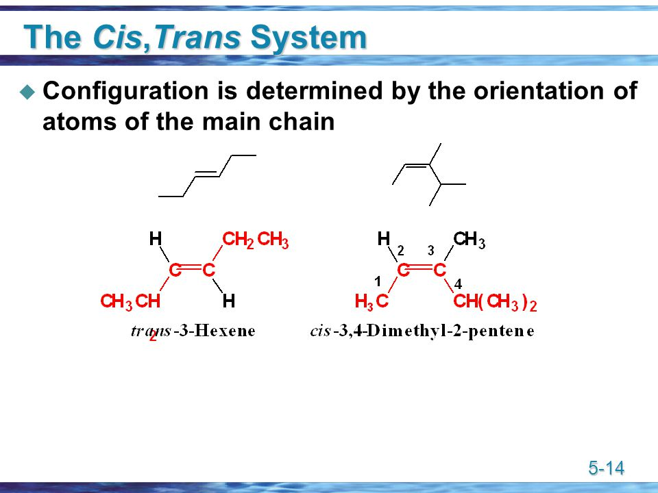 5-14 The Cis,Trans System  Configuration is determined by the orientation of atoms of the main chain