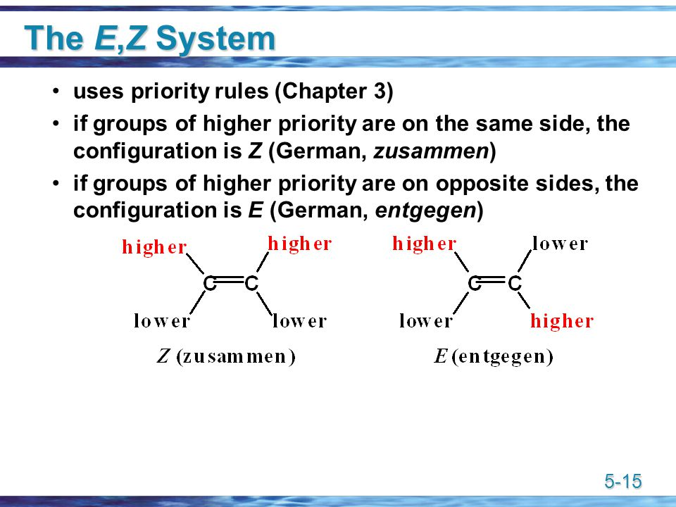 5-15 The E,Z System uses priority rules (Chapter 3) if groups of higher priority are on the same side, the configuration is Z (German, zusammen) if groups of higher priority are on opposite sides, the configuration is E (German, entgegen)
