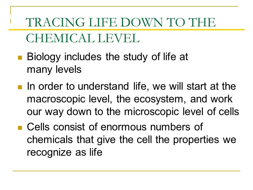 Biology includes the study of life at many levels TRACING LIFE DOWN TO THE CHEMICAL LEVEL In order to understand life, we will start at the macroscopic level, the ecosystem, and work our way down to the microscopic level of cells Cells consist of enormous numbers of chemicals that give the cell the properties we recognize as life