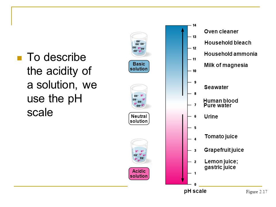 Basic solution Neutral solution Acidic solution Oven cleaner Household bleach Household ammonia Milk of magnesia Seawater Human blood Pure water Urine Tomato juice Grapefruit juice Lemon juice; gastric juice pH scale To describe the acidity of a solution, we use the pH scale Figure 2.17
