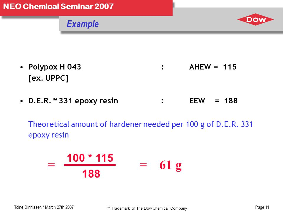 Toine Dinnissen / March 27th 2007Page 11 NEO Chemical Seminar 2007 = = 61 g Example Polypox H 043: AHEW = 115 [ex.