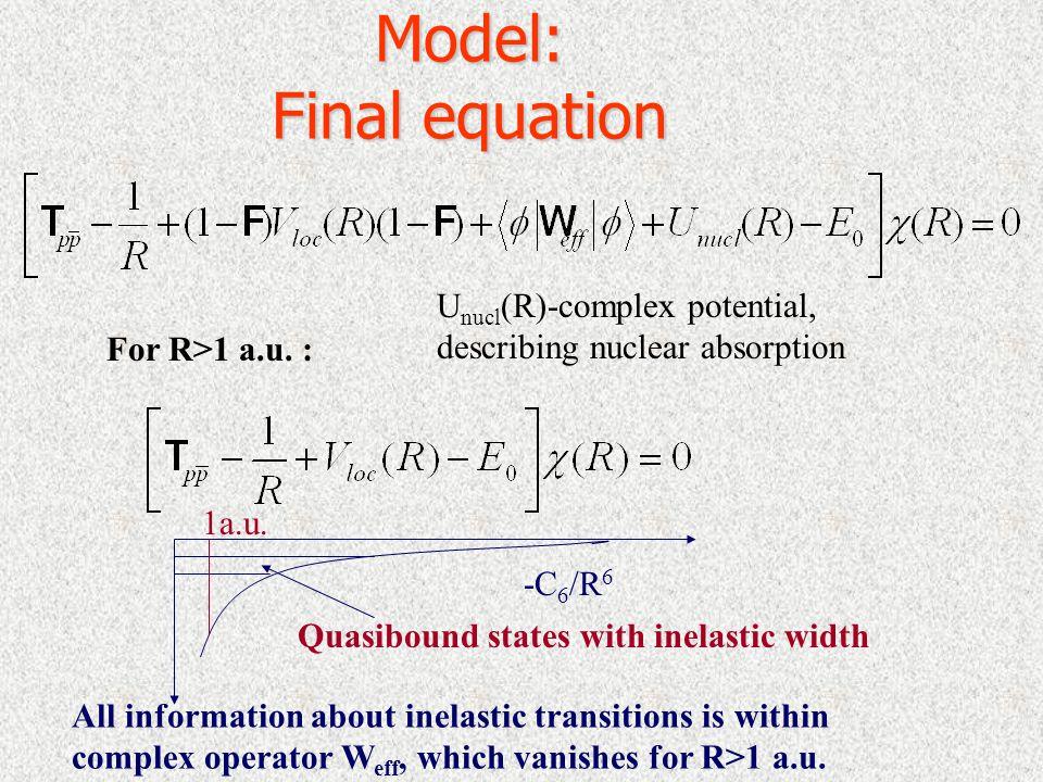 Model: Final equation For R>1 a.u.