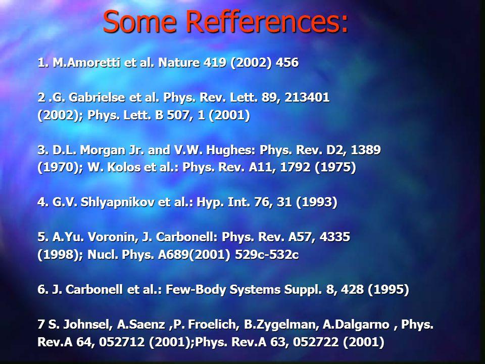 Some Refferences: 1. M.Amoretti et al. Nature 419 (2002) 456 2.G.