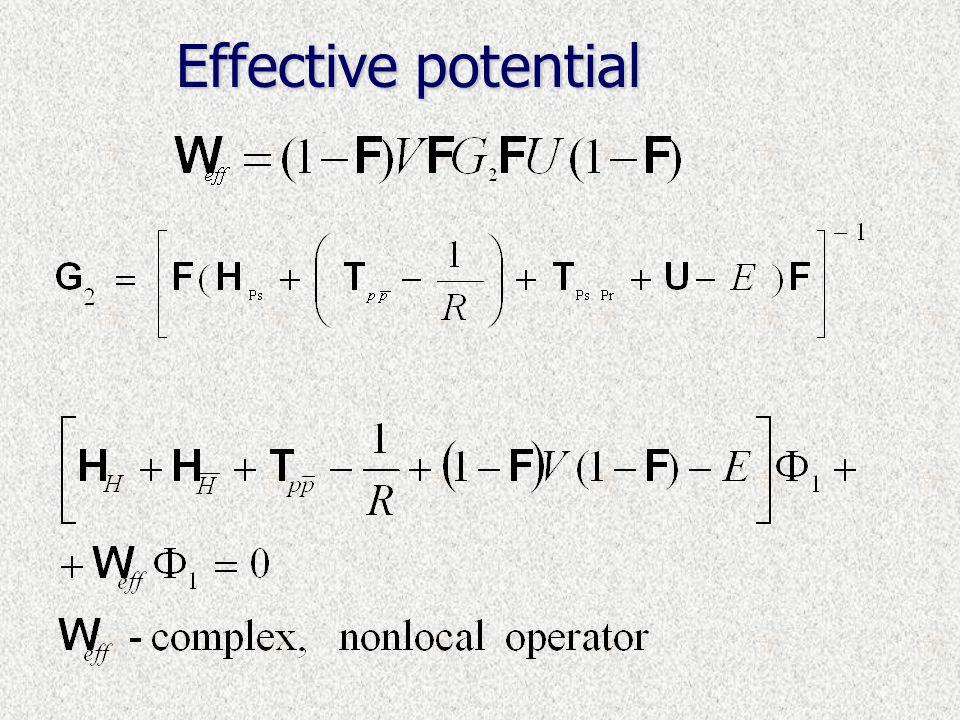Model H r1r1 r2r2 R R r  Pr Ps Variational calculation