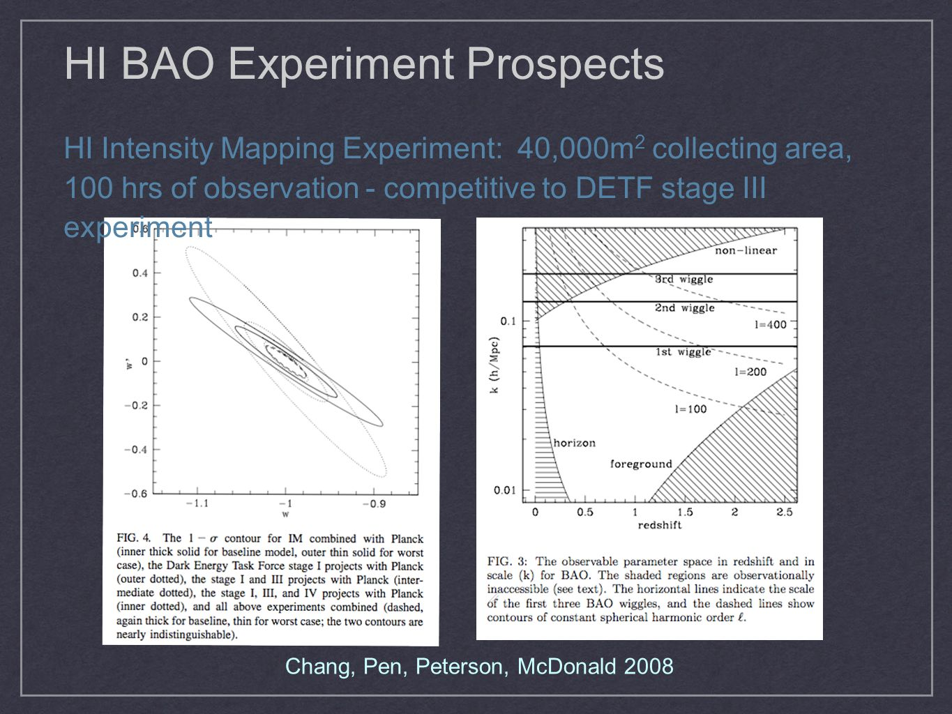 HI BAO Experiment Prospects HI Intensity Mapping Experiment: 40,000m 2 collecting area, 100 hrs of observation - competitive to DETF stage III experim