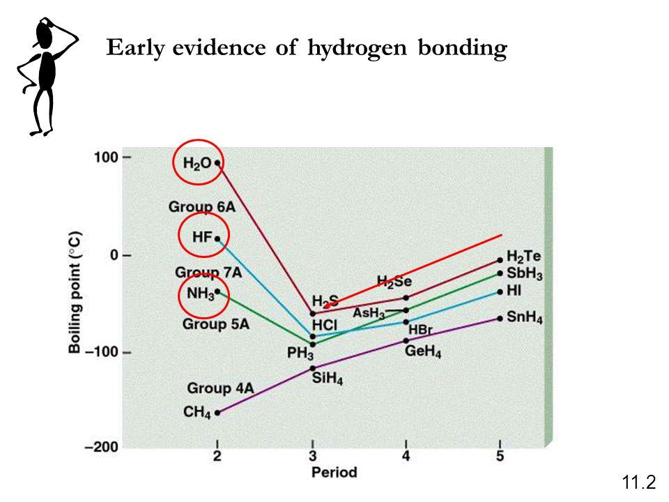 Early evidence of hydrogen bonding 11.2