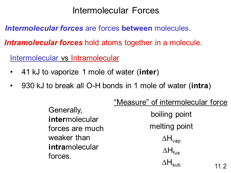 Intermolecular Forces 11.2 Intermolecular forces are forces between molecules.