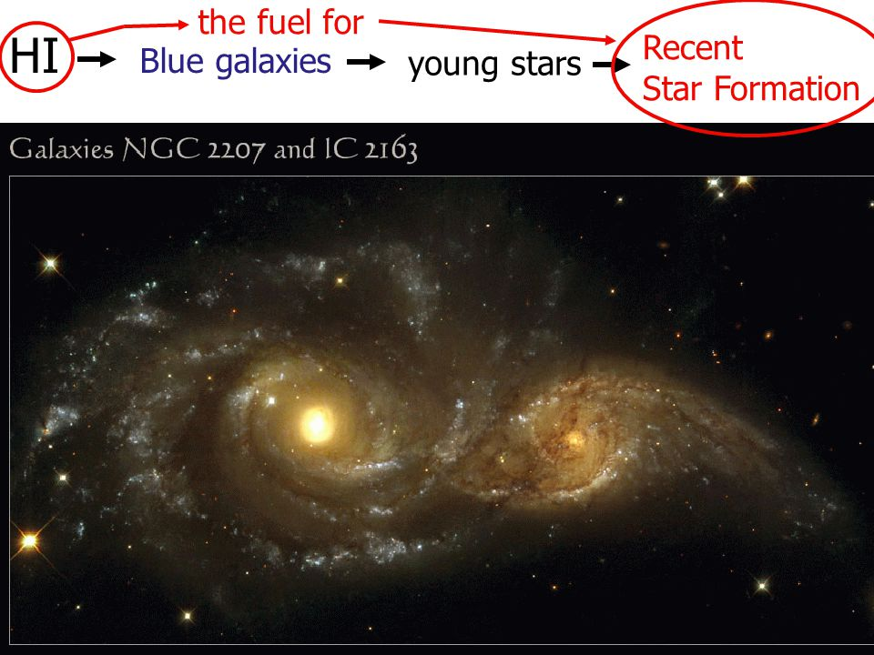 HI Blue galaxies young stars Recent Star Formation the fuel for