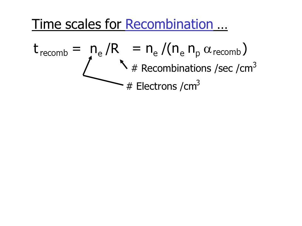 Time scales for Recombination … t = n /R recomb e # Electrons /cm 3 # Recombinations /sec /cm 3 = n /(n n  ) eep recomb