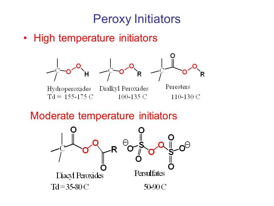 Peroxy Initiators Low temperature initiators, 35-60 C 3-bond cleavage process.