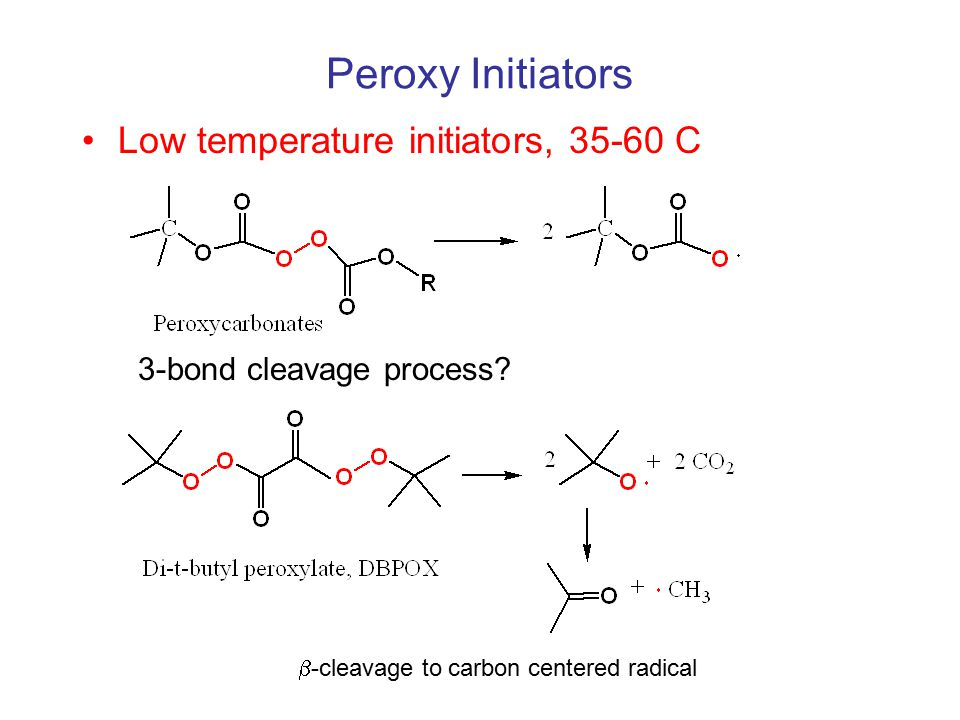 Peroxy Initiators Low temperature initiators, 35-60 C 3-bond cleavage process.