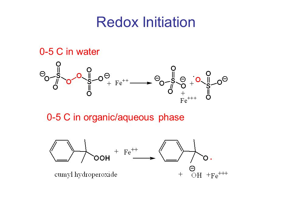 Redox Initiation 0-5 C in water 0-5 C in organic/aqueous phase