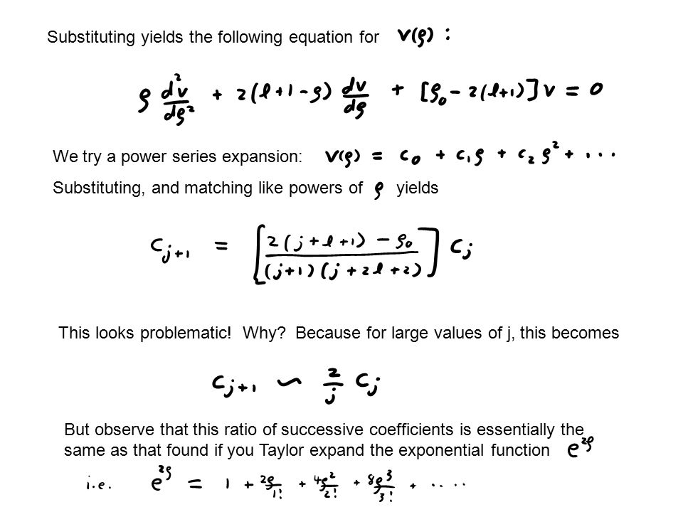 Substituting yields the following equation for We try a power series expansion: Substituting, and matching like powers of yields This looks problematic.