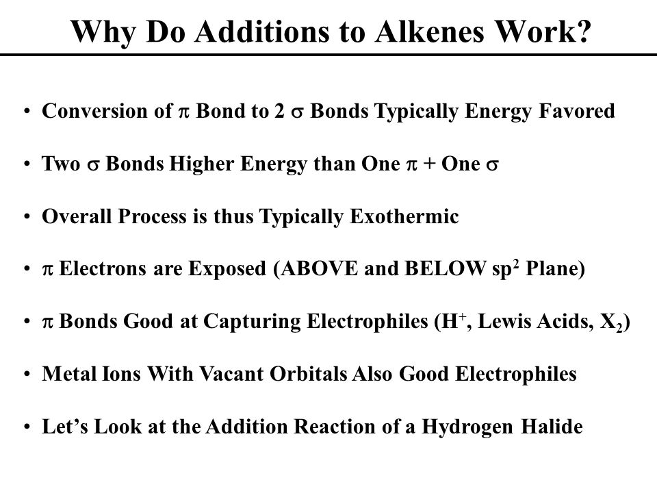Why Do Additions to Alkenes Work.
