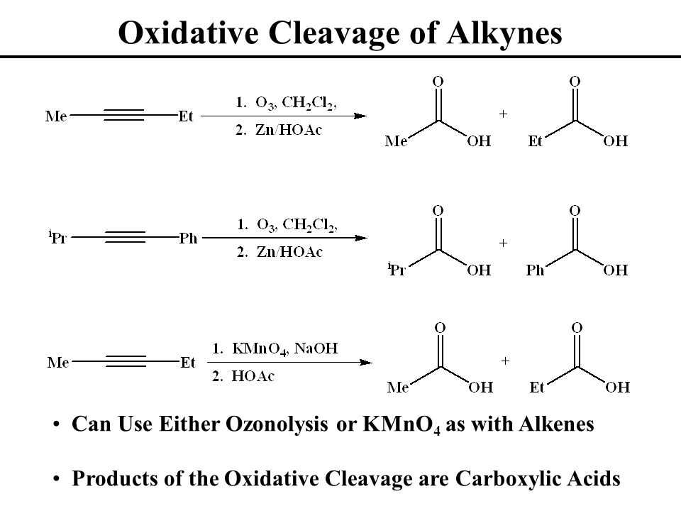 Oxidative Cleavage of Alkynes Can Use Either Ozonolysis or KMnO 4 as with Alkenes Products of the Oxidative Cleavage are Carboxylic Acids
