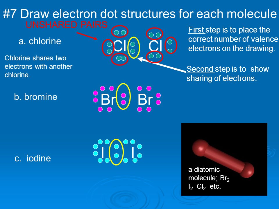 #7 Draw electron dot structures for each molecule a. chlorine Cl First step is to place the correct number of valence electrons on the drawing. Second