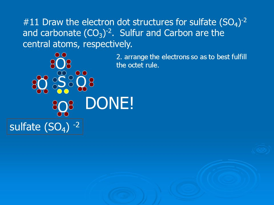 #11 Draw the electron dot structures for sulfate (SO 4 ) -2 and carbonate (CO 3 ) -2. Sulfur and Carbon are the central atoms, respectively. SO O O O
