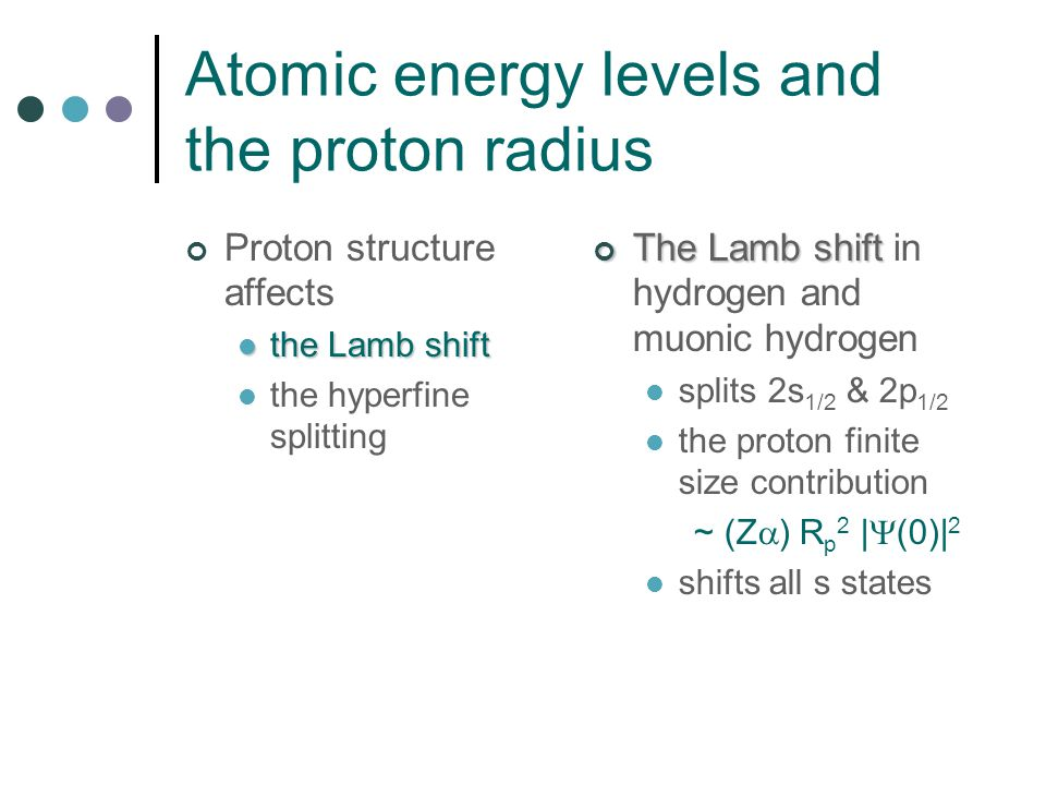 Atomic energy levels and the proton radius Proton structure affects the Lamb shift the Lamb shift the hyperfine splitting The Lamb shift The Lamb shift in hydrogen and muonic hydrogen splits 2s 1/2 & 2p 1/2 the proton finite size contribution ~ (Z  ) R p 2 |  (0)| 2 shifts all s states